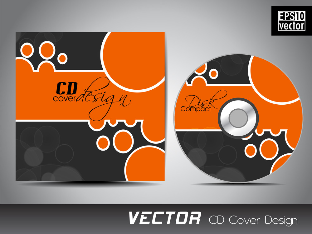 Vector Cd Cover Design With Colorful Abstract Design In Grey And Orange Color For Your Business.