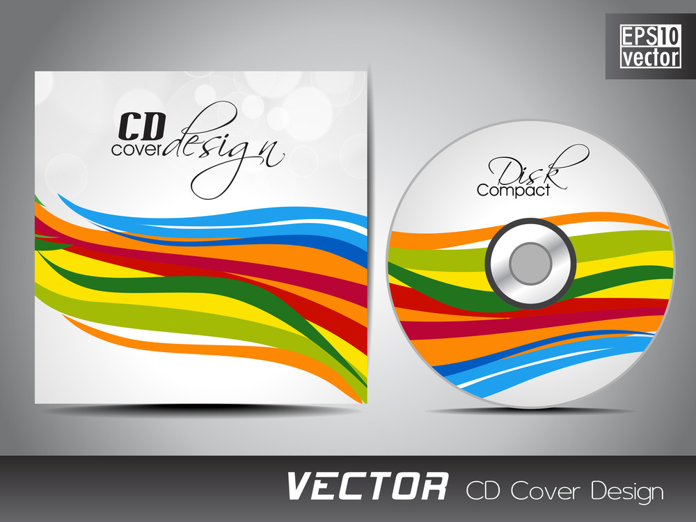 Vector Cd Cover Design With Floral And Grunge Effect On Green Color. Vector Illustration.