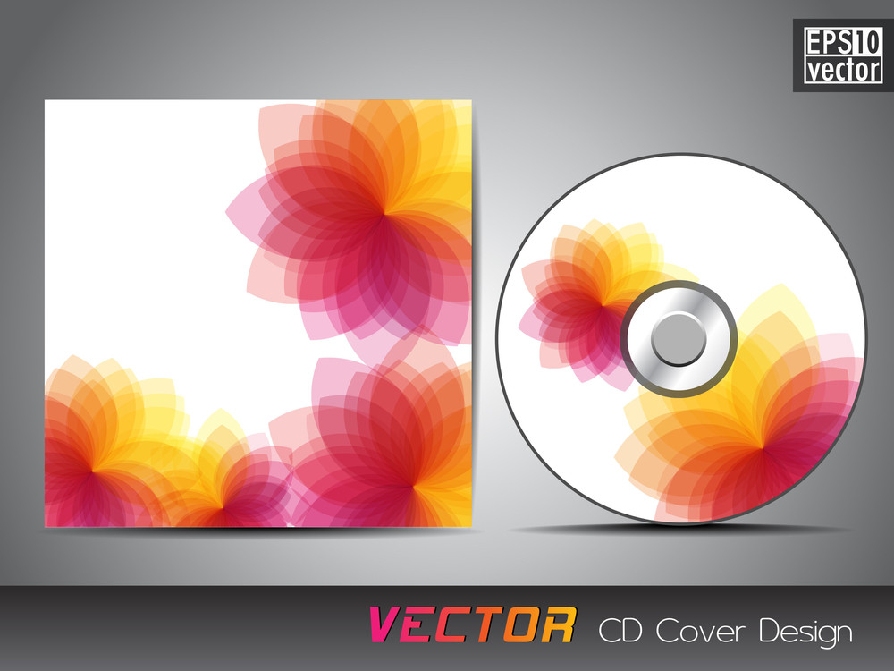 Vector Cd Cover Design With Floral Design. Vector Illustration.