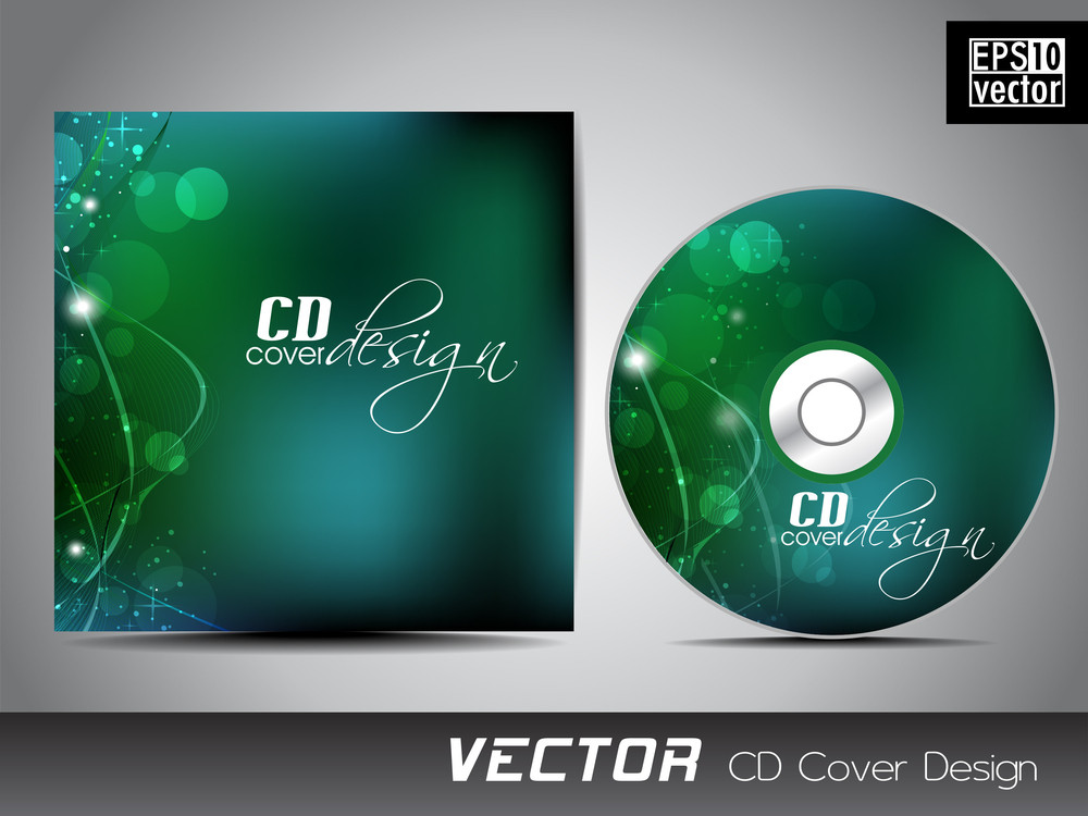 Vector Cd Cover Design With Shiny Green Abstract Design With Wave Background For Your Business.