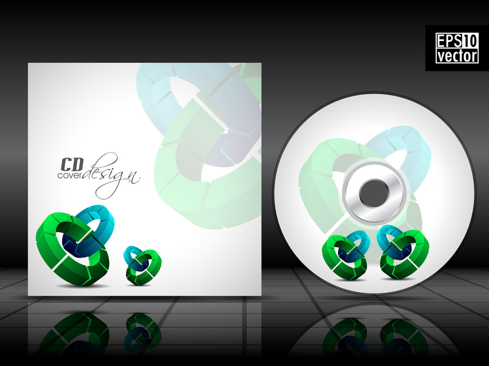 Vector Cd Cover In Blue Color With 3d Green Circles And Space For Your Text. Vector Illustration.