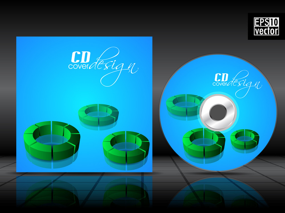 Vector Cd Cover In Blue Color With 3d Green Circles