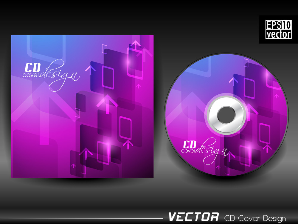 Vector Cd Cover In Purple And Blue Color With Up Side Arrow