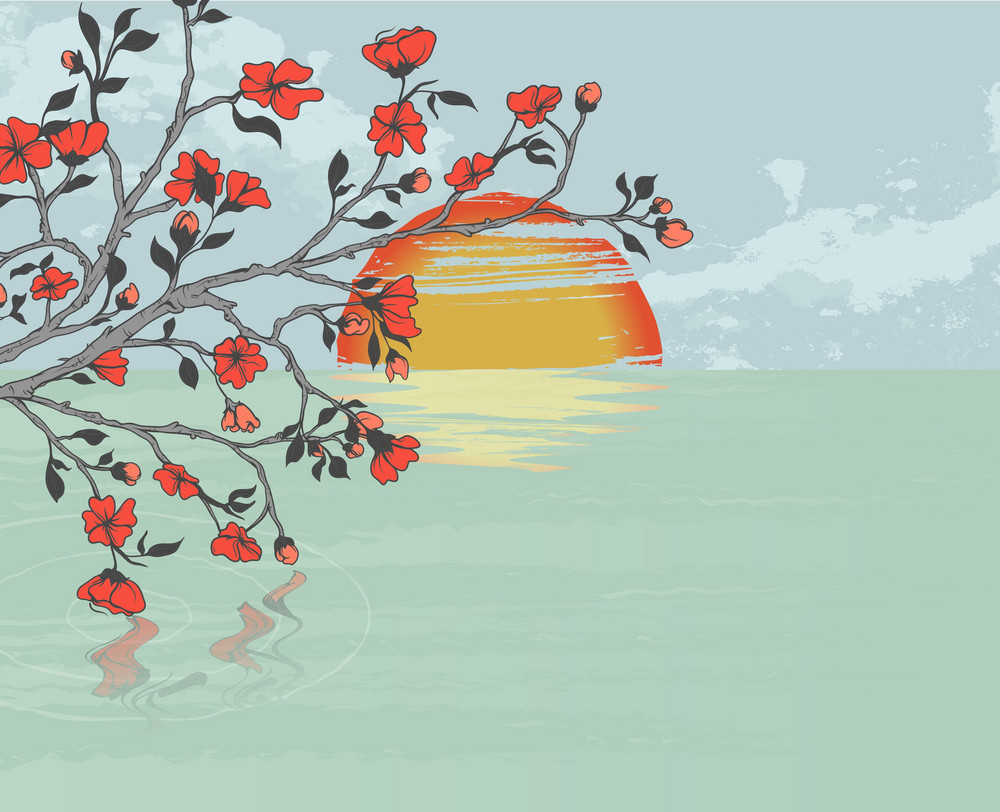 Vector Cherry Branch With Background