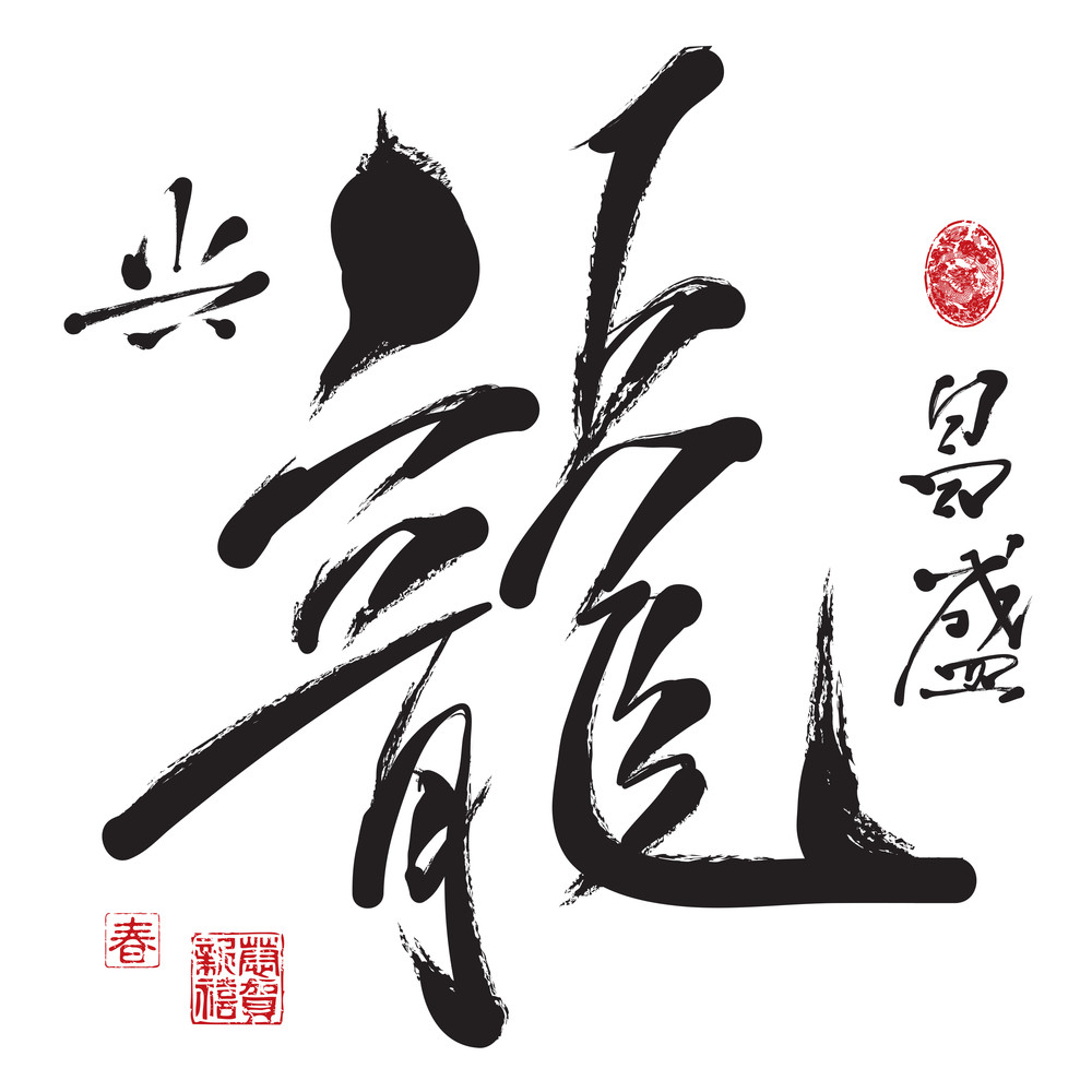 Vector Chinese New Year Calligraphy For The Year Of Dragon. Translation: Prosperous Year Of Dragon