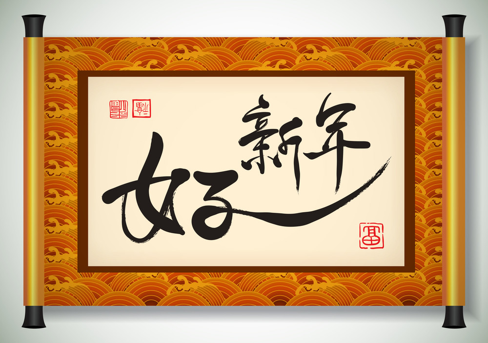 Vector Chinese New Year Calligraphy On Scroll Banner. Translation: Good New Year