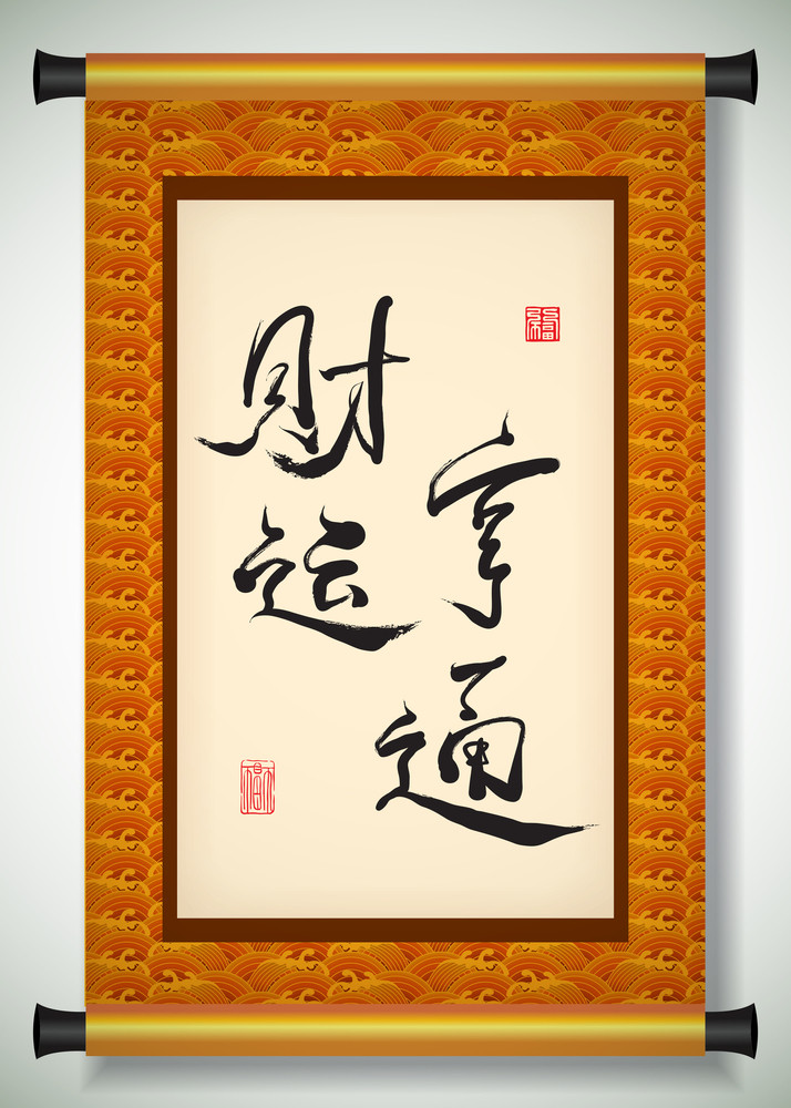 Vector Chinese New Year Calligraphy On Scroll Banner. Translation:
