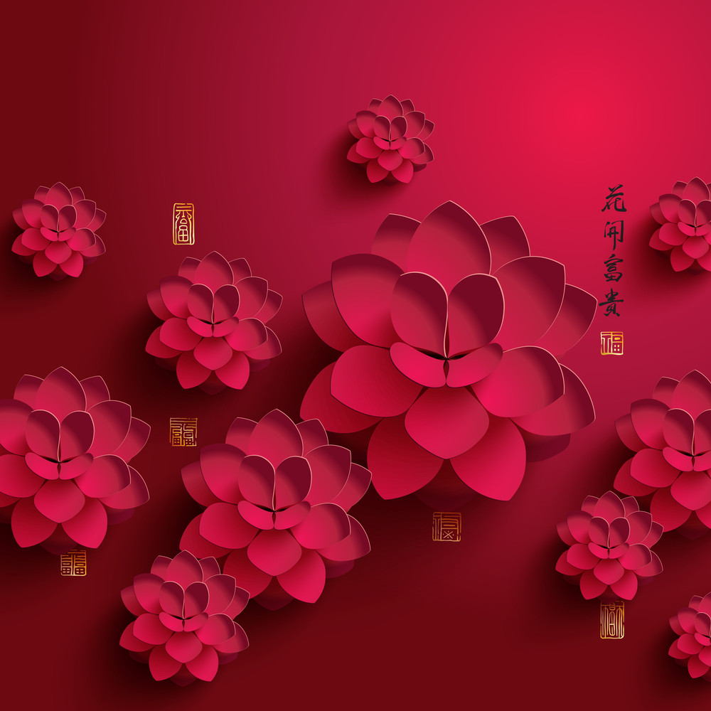 Vector Chinese New Year Paper Graphics. Translation Of Chinese Calligraphy: The Blossom Of Flourishing Age. Translation Of Stamps: Good Fortune