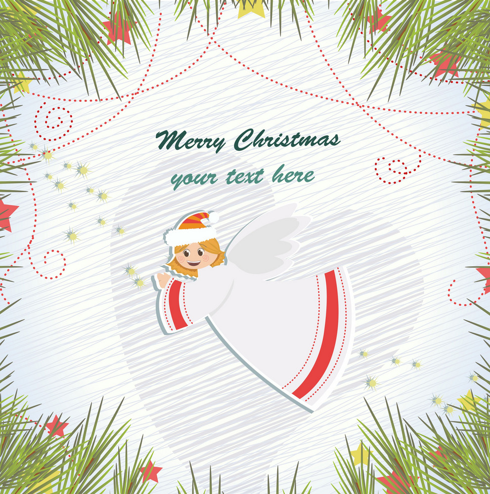Vector Christmas Background With Angel