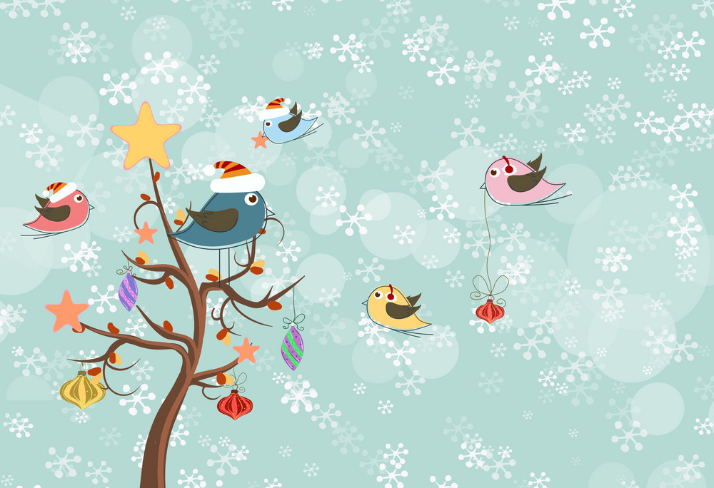 Vector Christmas Background With Birds Royalty Free Stock
