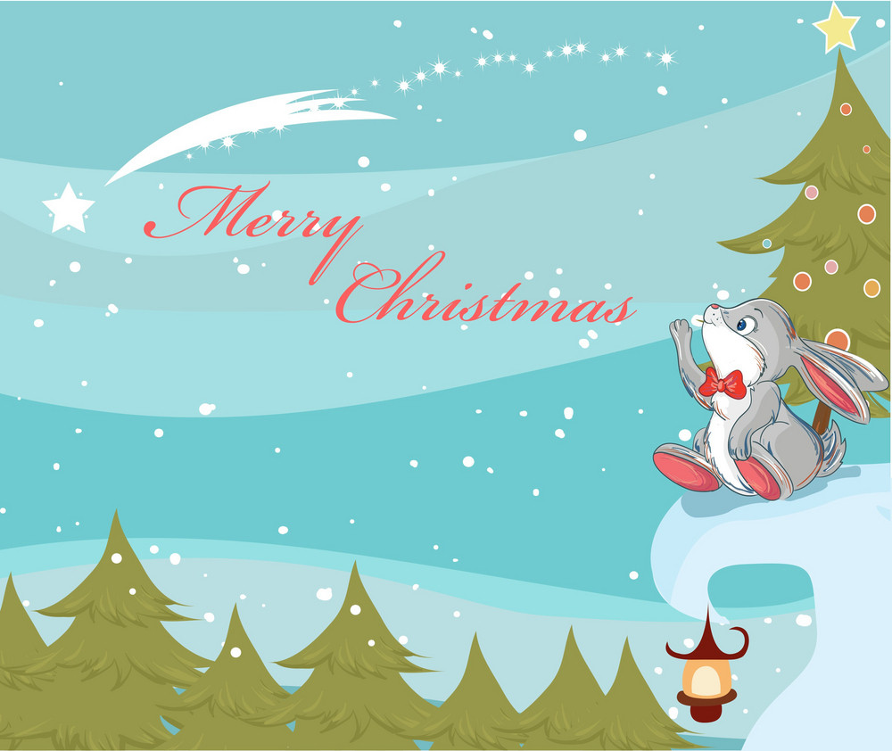 Vector Christmas Background With Bunny