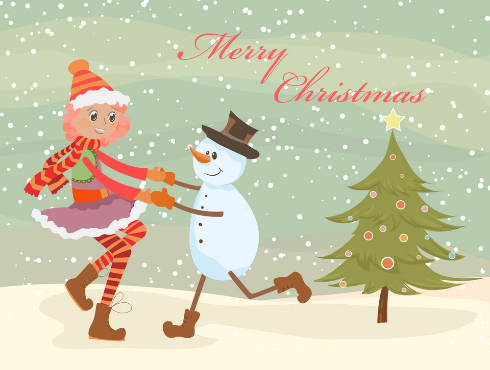 Vector Christmas Background With Girl And Snowman