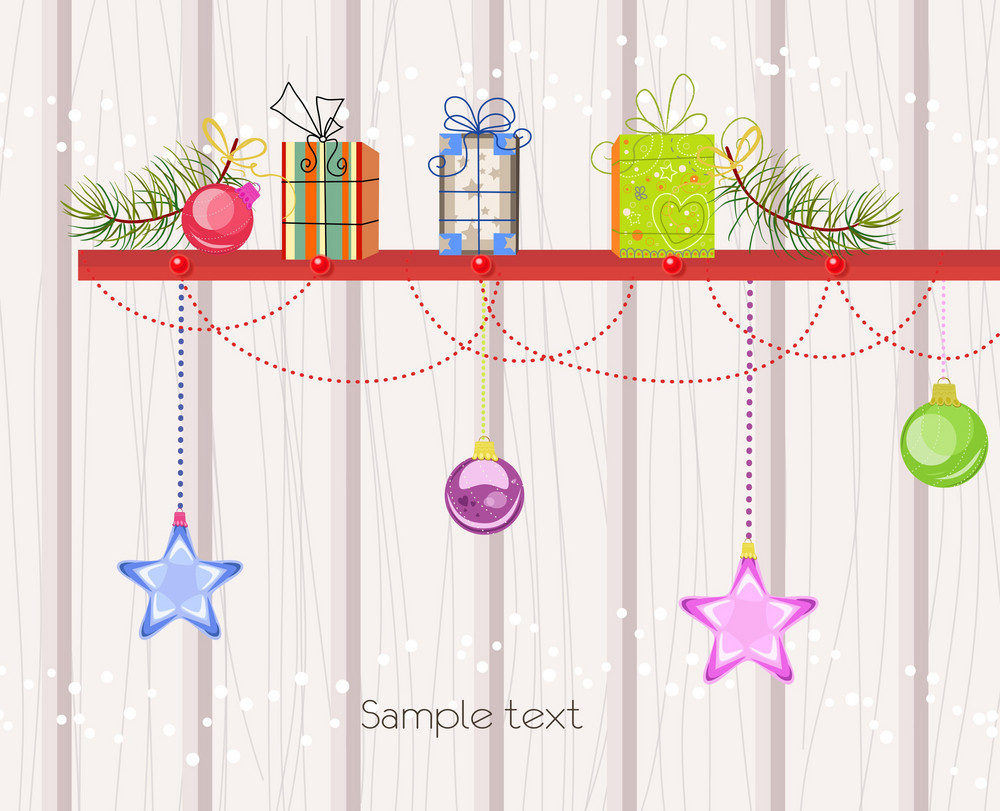 Vector Christmas Background With Presents