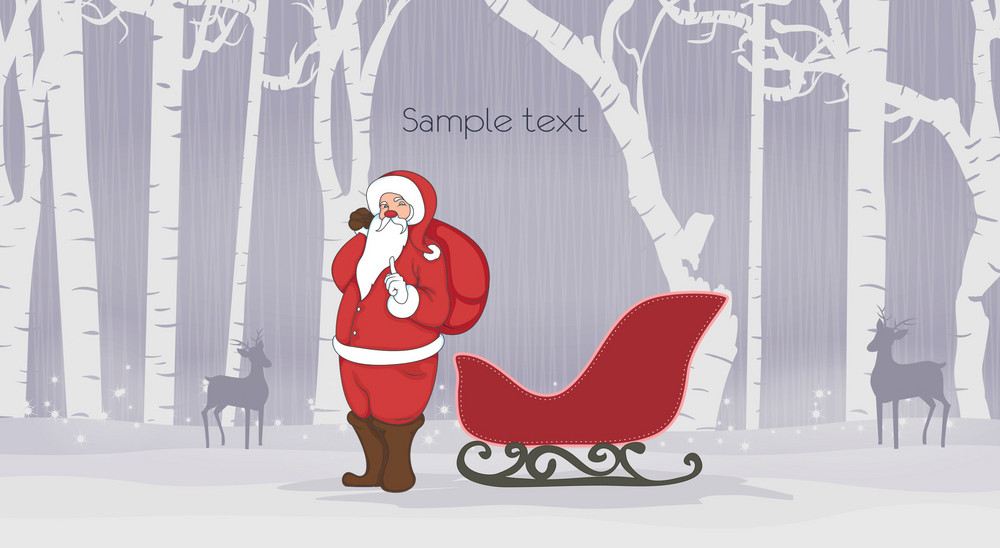 Vector Christmas Background With Santa