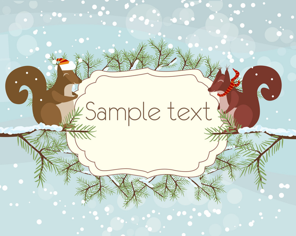 Vector Christmas Background With Squirrels