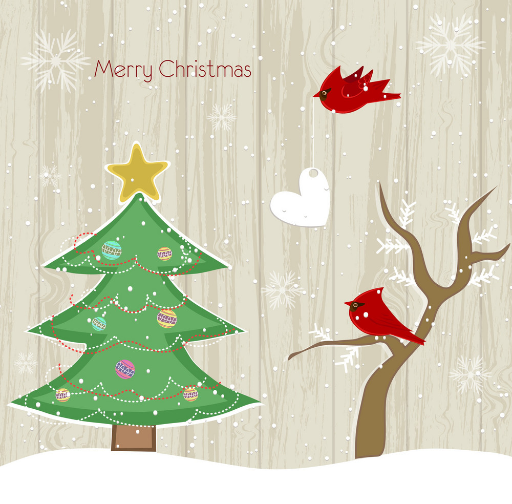 Vector Christmas Background With Tree