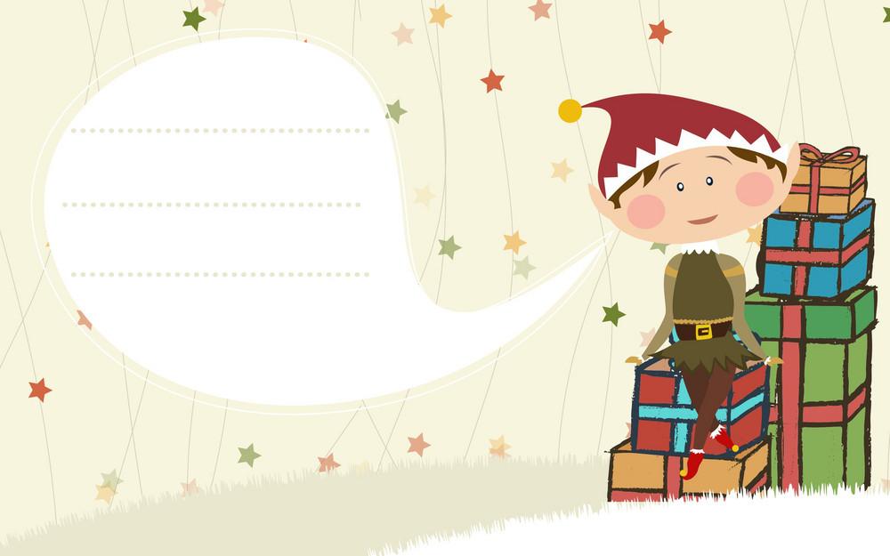 Vector Christmas Card With Elf
