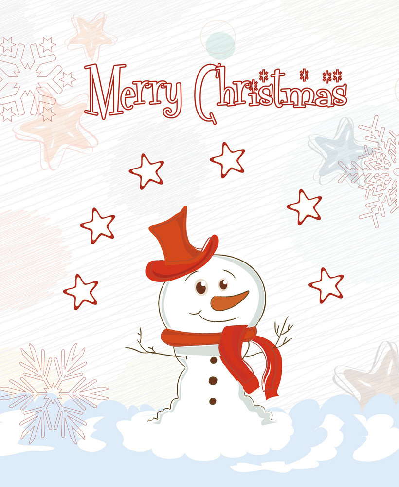Vector Christmas Card With Snowman