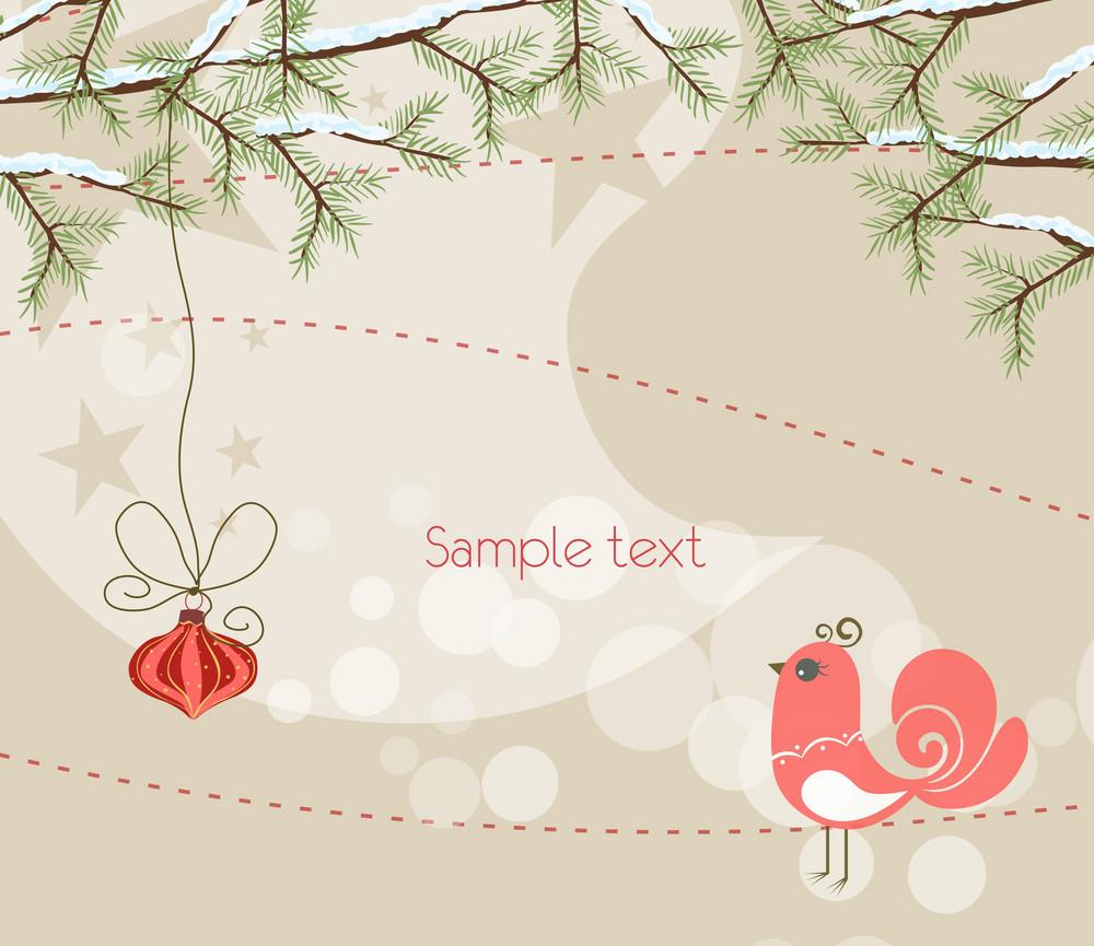 Vector Christmas Greeting Card With Bird