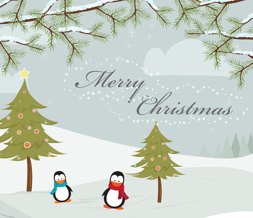 Vector Christmas Greeting Card With Penguins