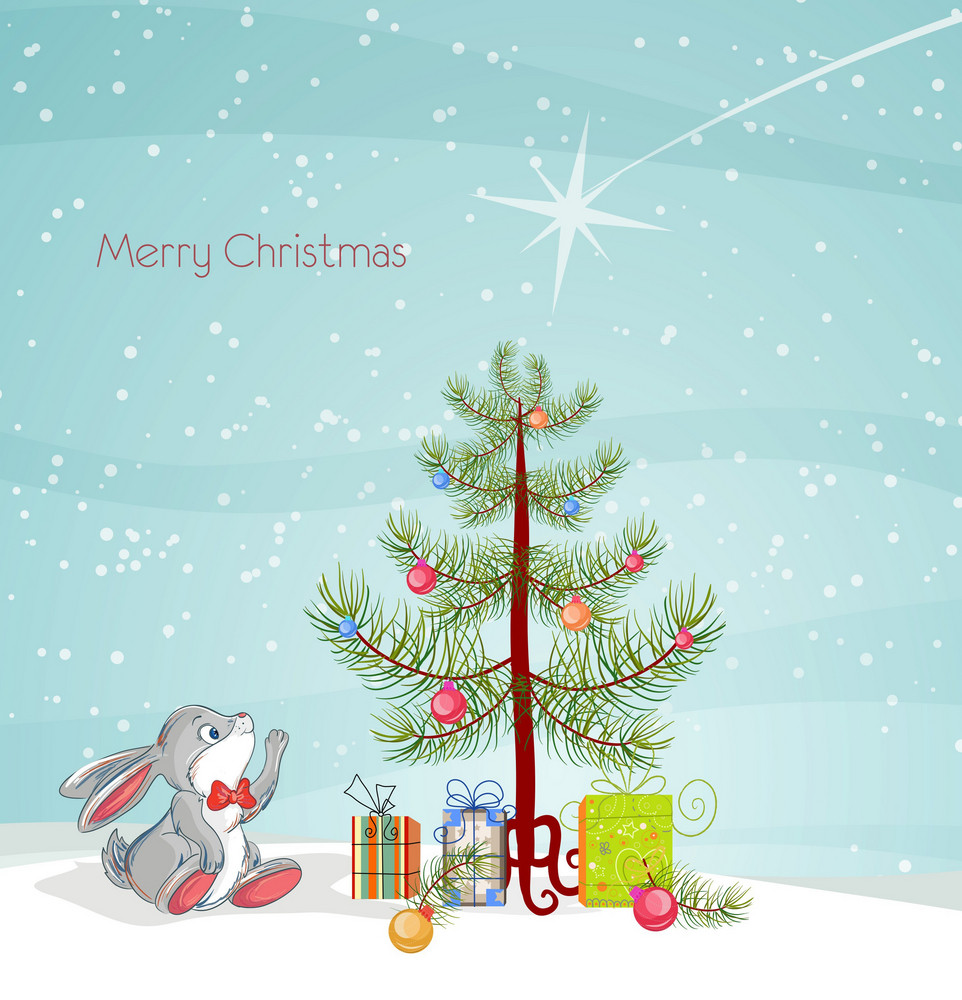 Vector Christmas Greeting Card With Rabbit