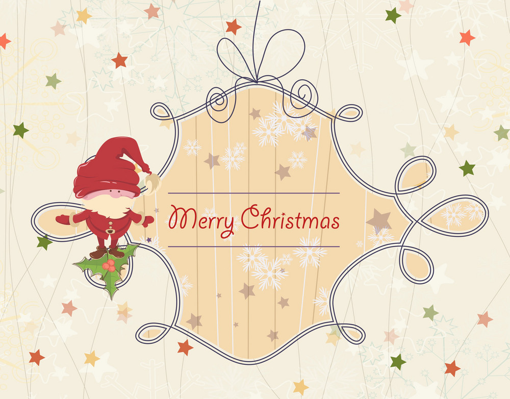 Vector Christmas Greeting Card With Santa