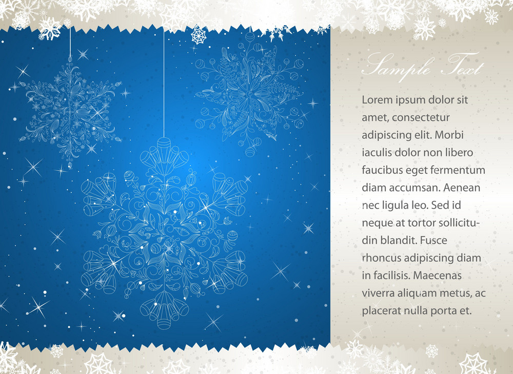 Vector Christmas Greeting Card With Snowflakes Made Of Floral