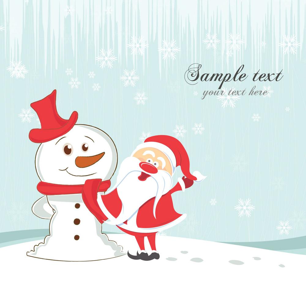 Vector Christmas Greeting Card With Snowman And Santa