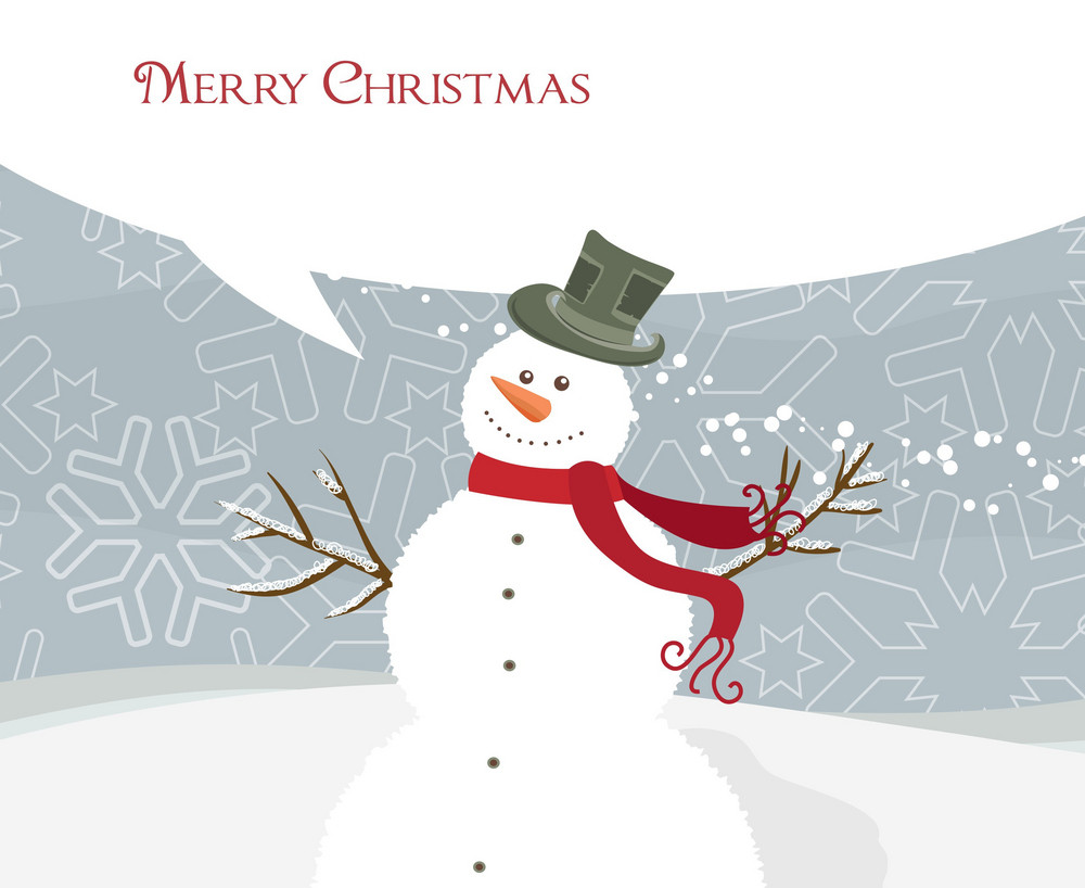 Vector Christmas Greeting Card With Snowman