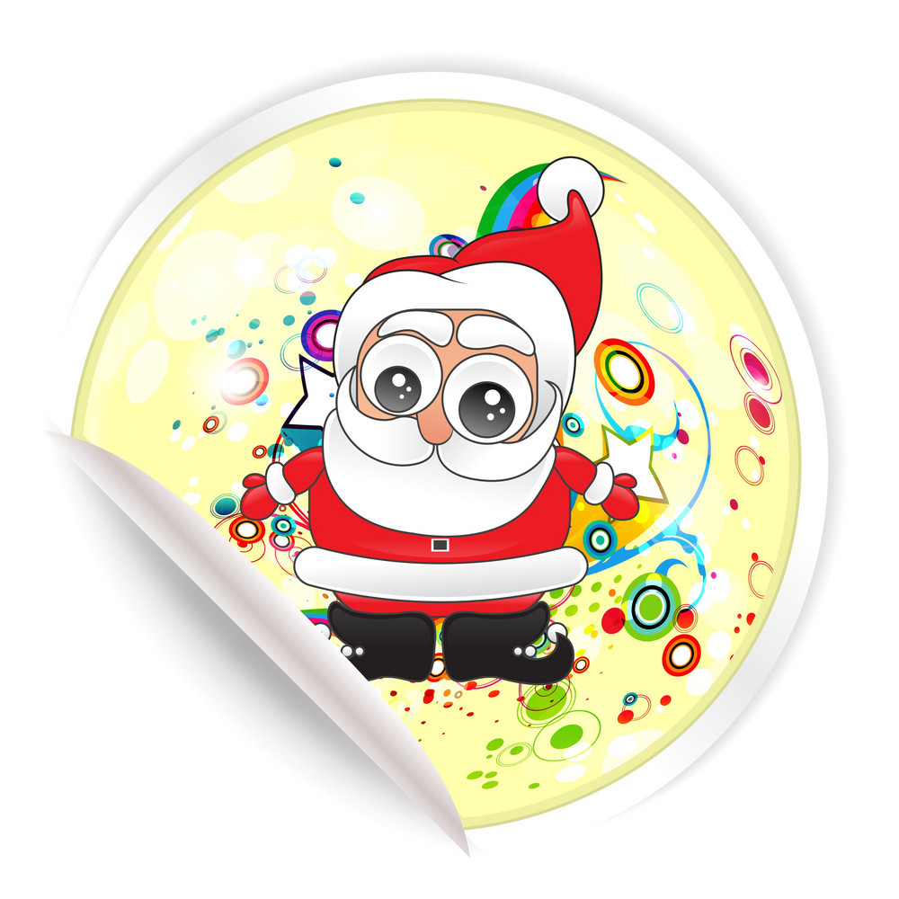 Vector Christmas Sticker With Santa