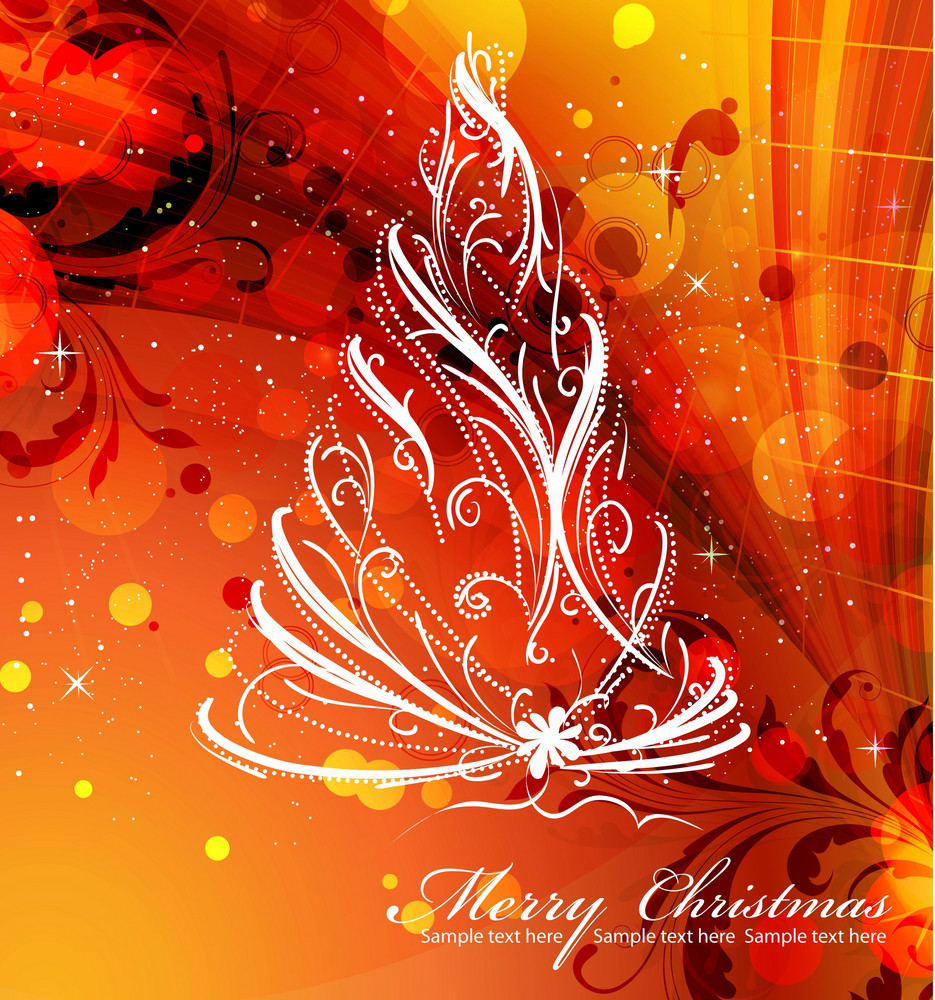 Vector Christmas Tree With Abstract Background