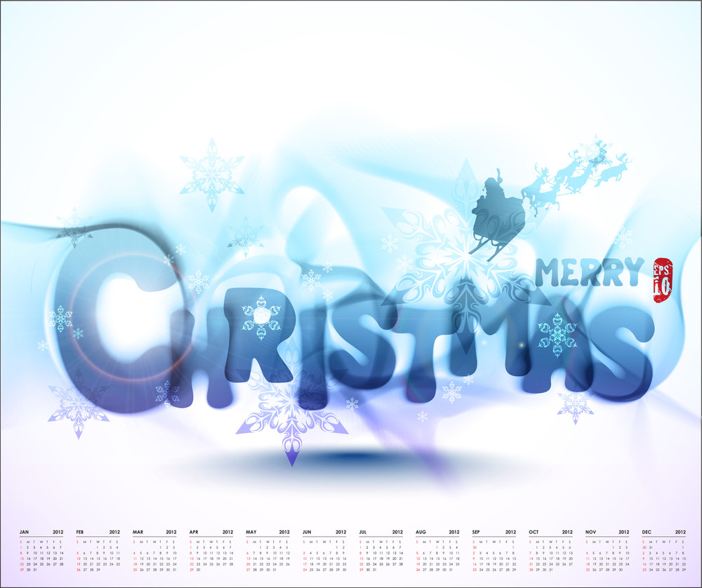 Vector Christmas Typography With 2012 Calendar