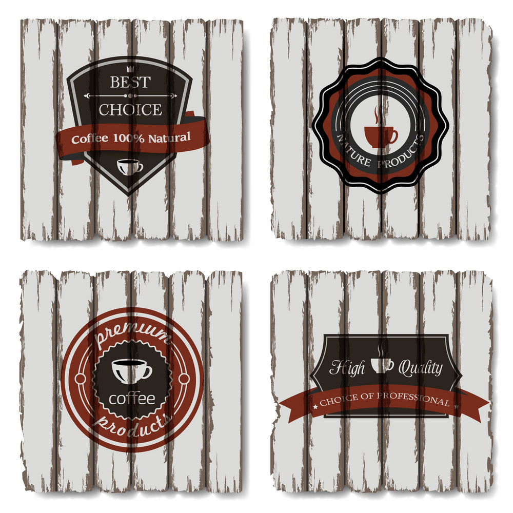 Vector Coffee Labels On Old Wood Background