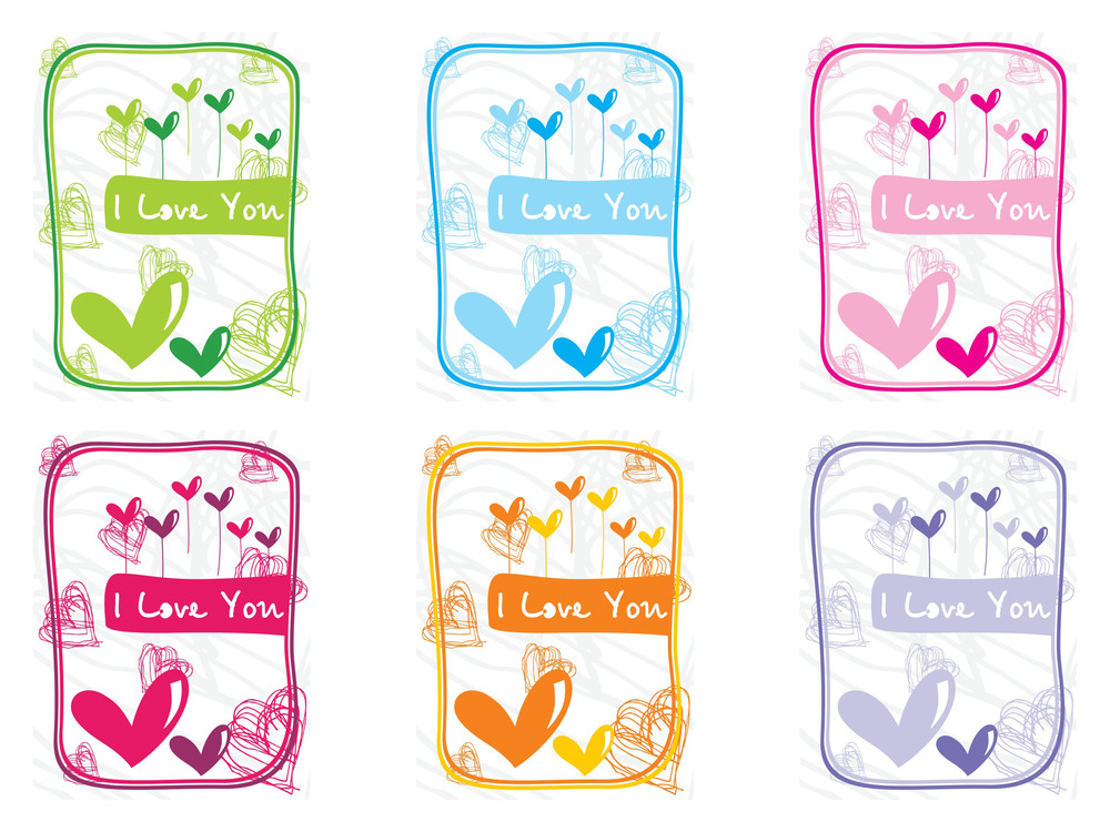 Vector Collection Of Six Love Cards