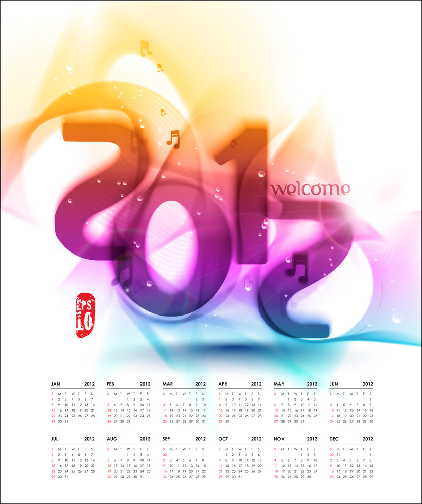 Vector Colorful 2012 Calendar Design With Musical Notes