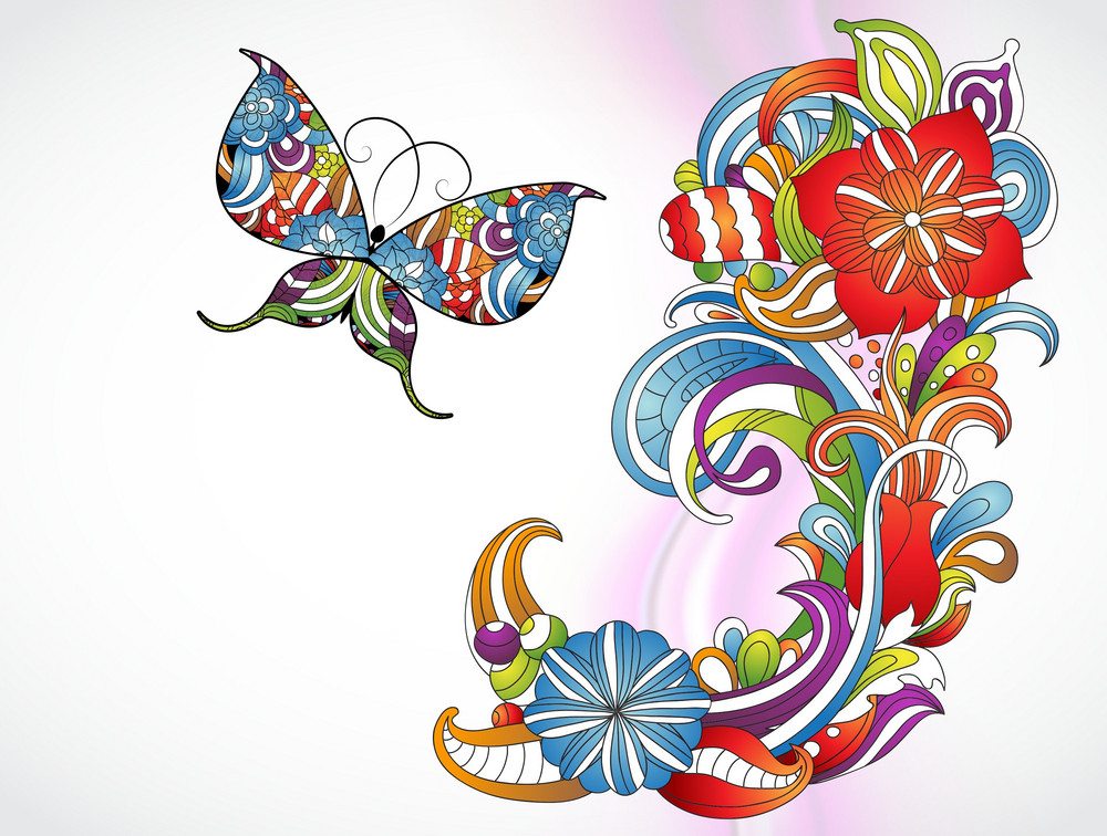 Vector Colorful Abstract Floral Background With Butterfly