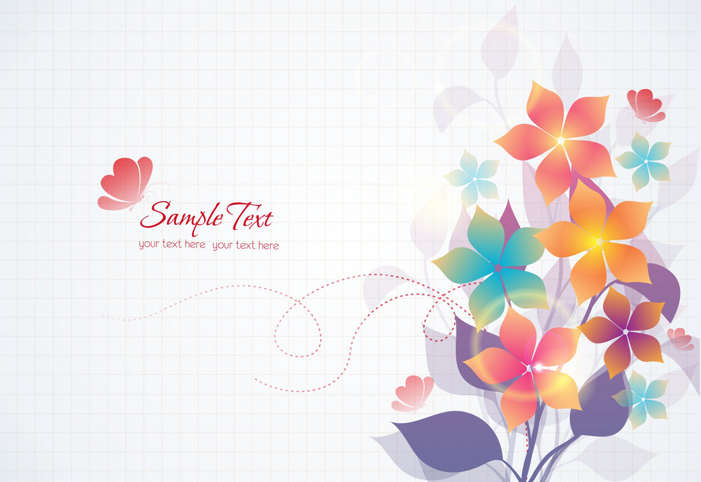 Vector Colorful Abstract Floral With Butterflies