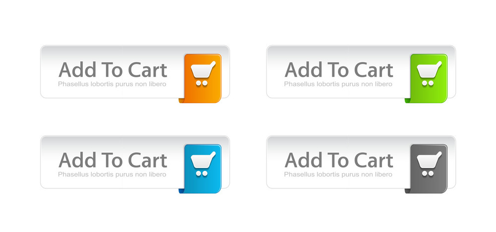 Vector Colorful Add To Cart Buttons Set