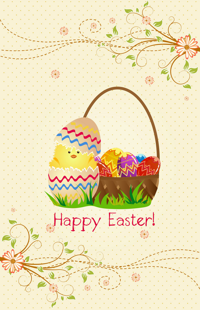 Vector Colorful Background With Basket Of Eggs