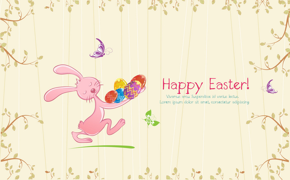 Vector Colorful Background With Bunny