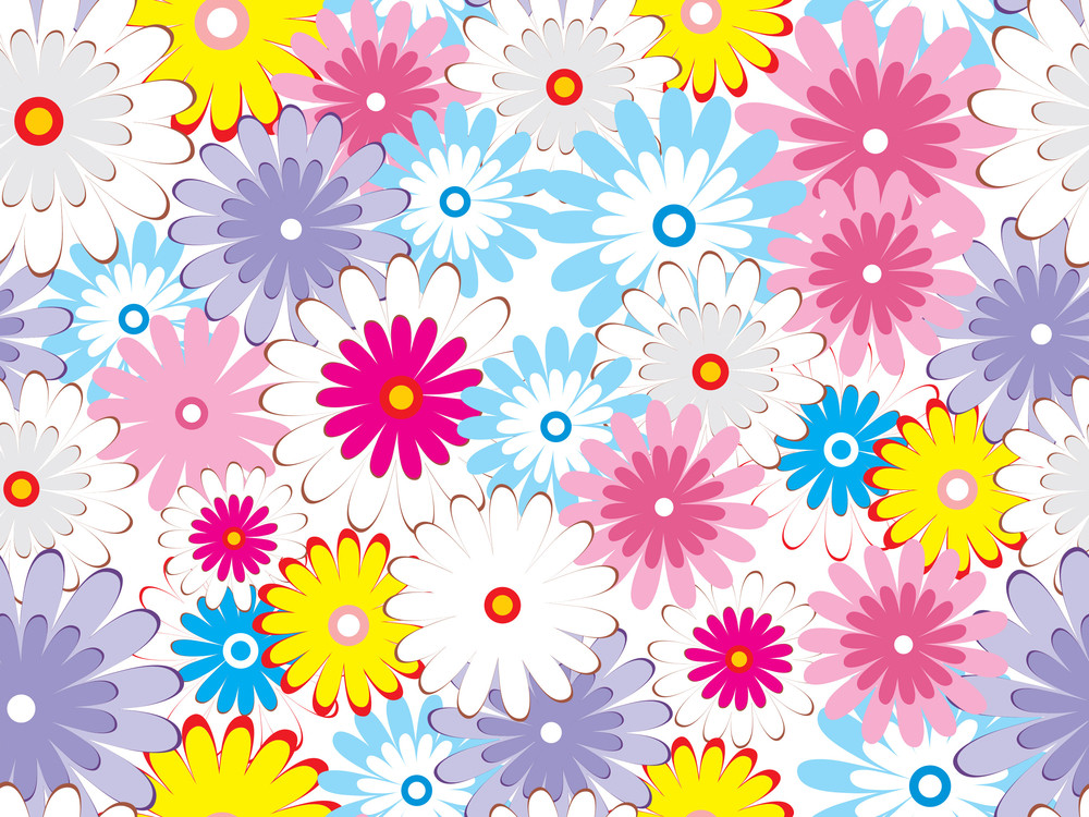 Vector Colorful Blossoms Pattern Wallpaper