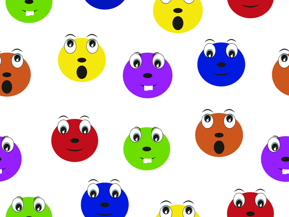 Vector Colorful Comic Face Pattern Wallpaper