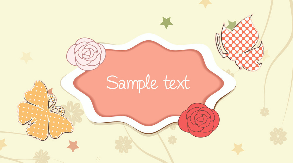 Vector Colorful Frame With Butterfly