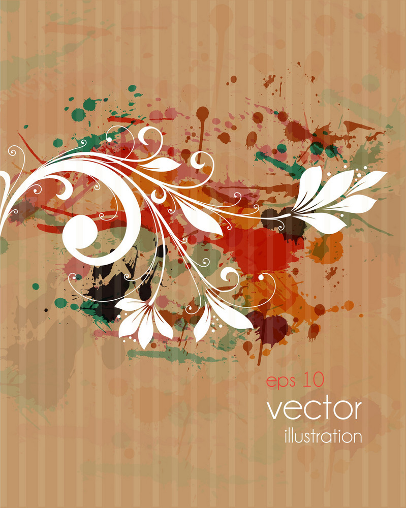Vector Colorful Grunge Background With Floral