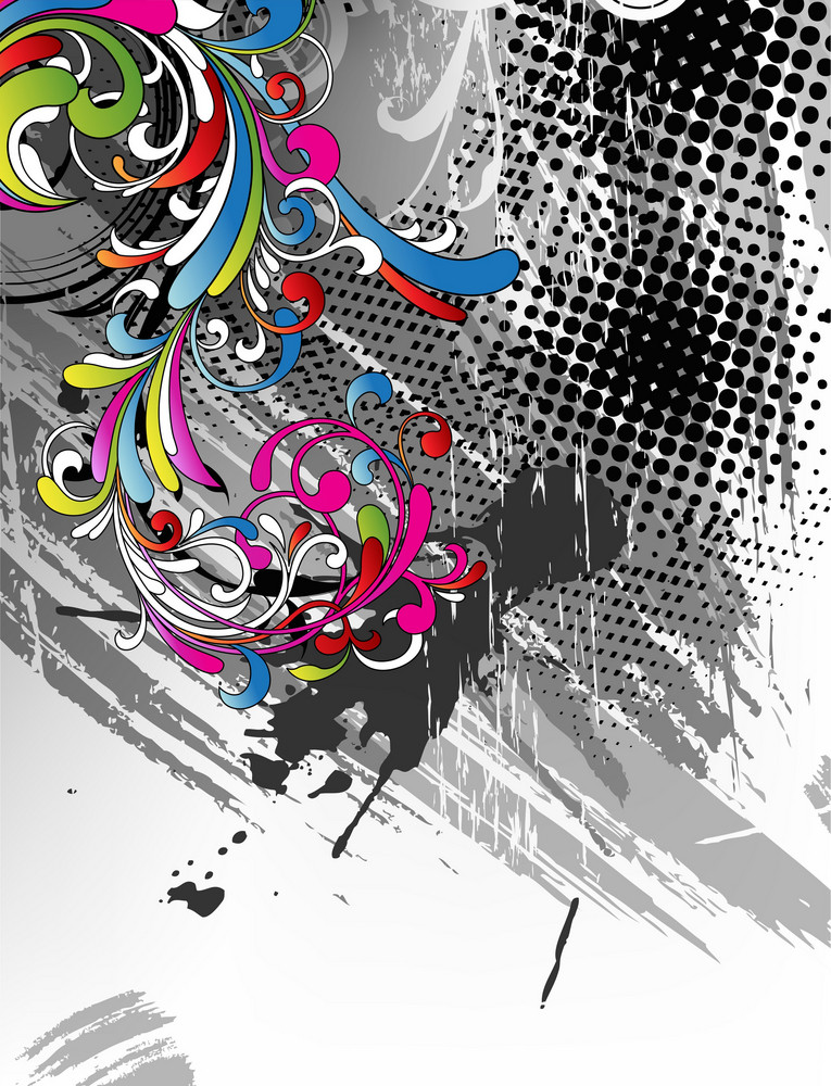 Vector Colorful Grunge Floral Background