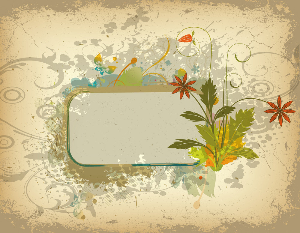 Vector Colorful Grunge Floral Frame