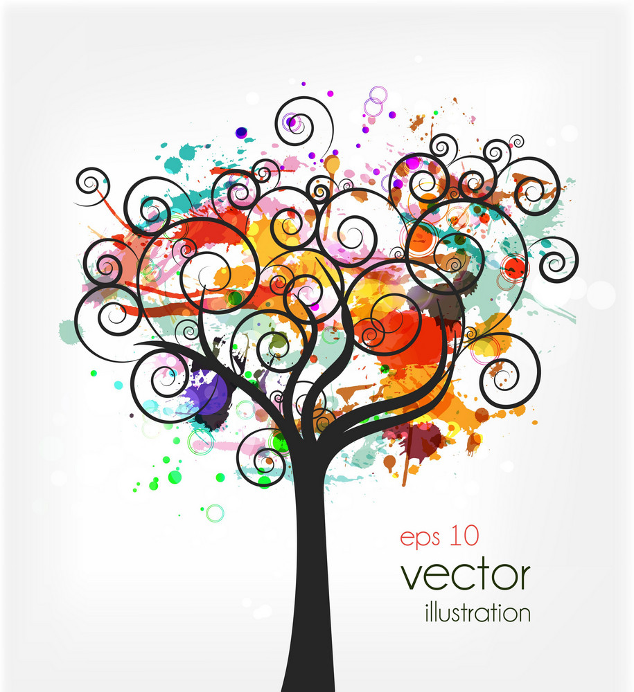 Vector Colorful Grunge With Tree