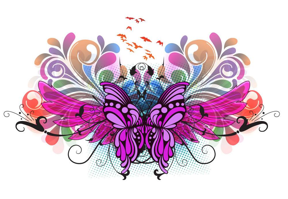 Vector Colorful Illustration With Butterfly