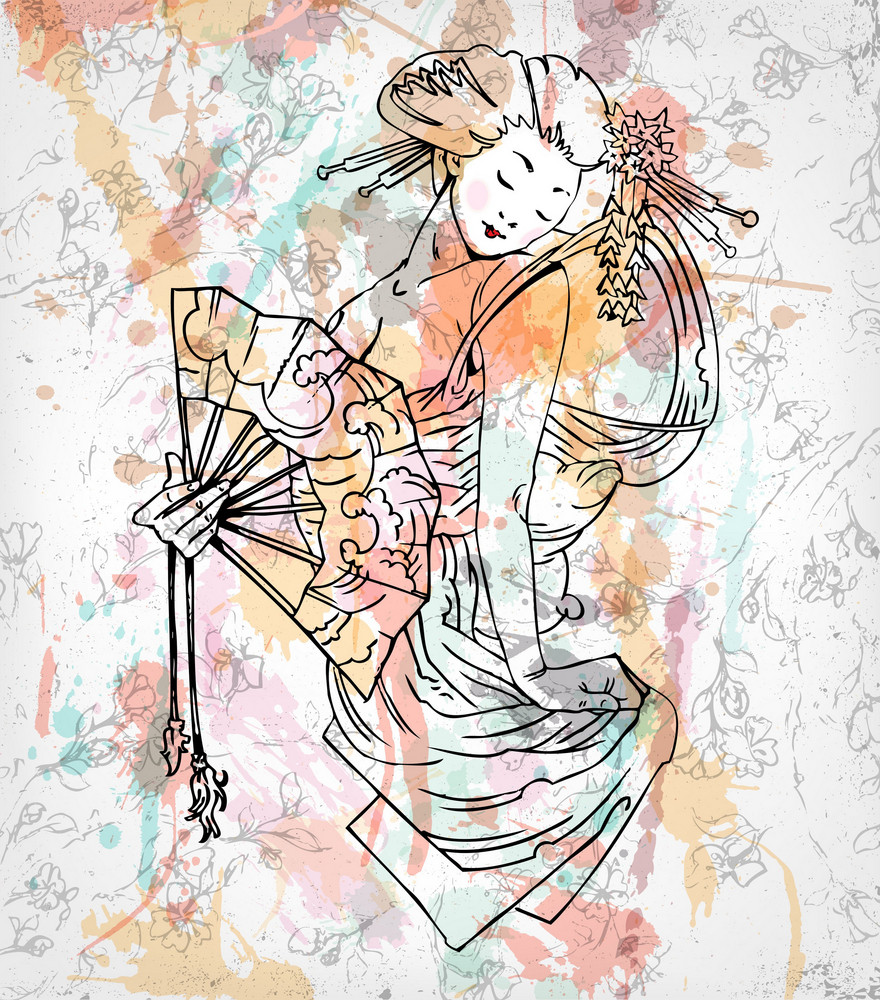 Vector Colorful Japanese Background With Geisha
