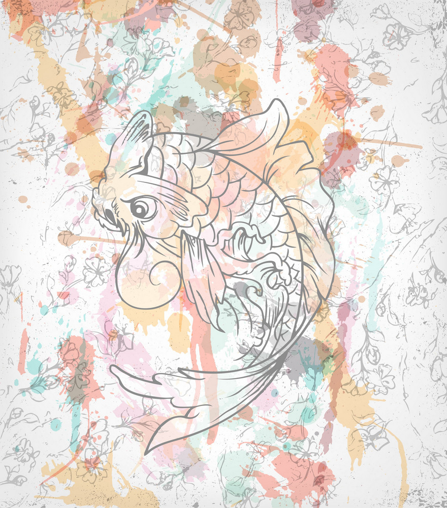 Vector Colorful Japanese Background With Koi Fish